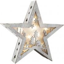 Weihnachtsdeko Leuchtstern mit Motiv, Shabby Chic, klein