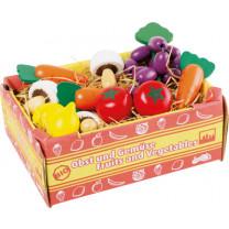 Kaufladen-Zubehör Stiege mit Gemüse
