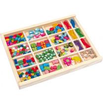 Fädelspiel Fädelbox Fädelperlen in Holzbox