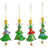 Weihnachtsbaumschmuck Metallhänger Tannenbaum, 4er Set