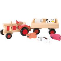 Holzauto Traktor mit Tieren